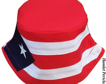 Puerto Rico Flag Unisex Bucket Hat | Puerto Rican Hat | Country Hat | Puerto Rico Flag |  Red, White, Blue Hat by Hamlet Pericles