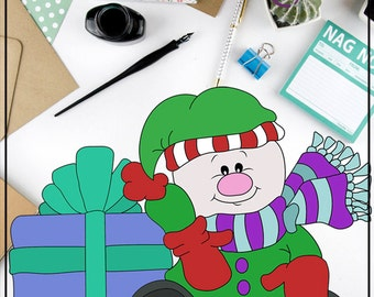Snowman and Gift Colored Digital Clip Art Christmas stamps