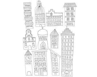 Set of 11 Doodle Buildings City Graphics Clipart Images Apartment Clock Tower Skyscraper House High Rise Instant Download
