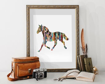 Horse Magazine Strip Giclee Art Print