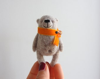 Grey Bear brooch, Eco friendly miniature animal, needle felted Bear brooch, hand made Bear, Gift for you, in gift box