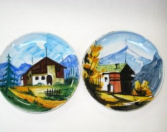2 Mid Century Italian Pottery Handpainted Country Mountain Alpine Scenes- Pair of Ceramic Wall Plates
