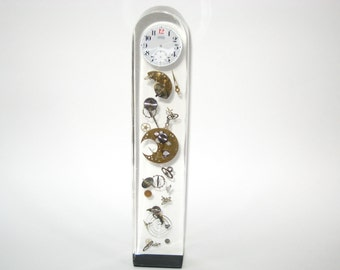 "Lucite & Watch Parts 12"" Sculpture Pierre Giraudon Style - Exploded Clock in Acrylic / Cast Resin  Paperweight"