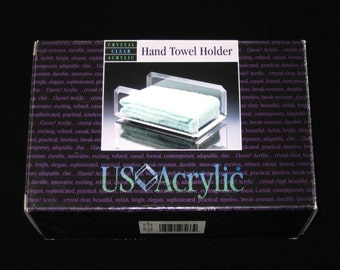 US Acrylic Hand Towel Holder NIB 1993 - Vintage Heavy Beveled Lucite Tray New Old Stock