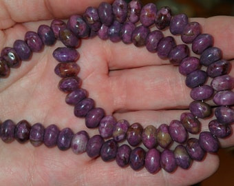 Purple Sugilite Beaded Rondell Necklace 18.5 inches