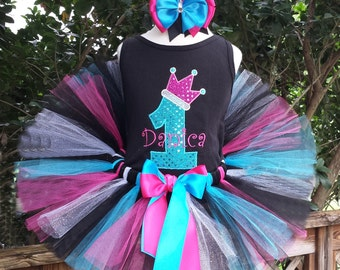 Crown Birthday tutu outfit - outfit includes shirt, tutu, and hairbow