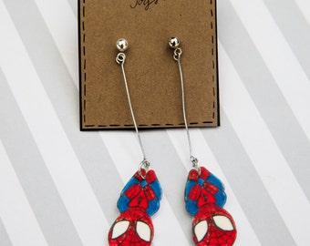 Dangling Spiderman Web Hanging Earrings