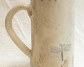 ceramic dragonfly coffee mug 20oz  stoneware 20B082