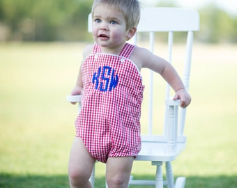 Girl's or Boy's Custom Monogram Unisex Bubble - Red & White - Summer outfit - Monogrammed Bubble - Shower gift - Summer Bubble