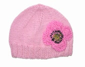 Girls Retro HANDMADE Pink Knitted Wool Beanie Hat with large Flower  . Gift Idea . Size - Age: 4 5 6 7 8 9 .  OOAK . Made in Australia