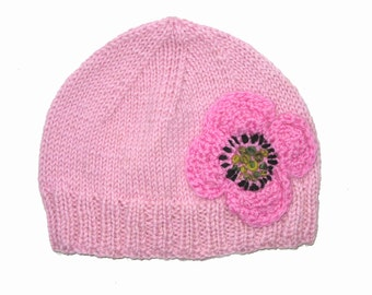 SALE - Girls Retro HANDMADE Pink Knitted Wool Beanie Hat with large Flower . Gift Idea . Size - Age: 4 5 6 7 8 9 . OOAK . Made in Australia