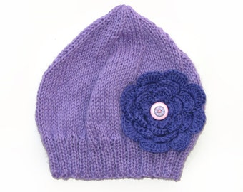 Girls Retro Lilac Knitted Wool Beanie Hat - Purple Flower & Buttons . A Great Gift Idea .  Size - Age: 2 3 4 5 6 . OOAK .