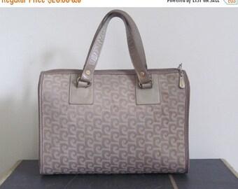 Pierre Cardin / Pierre Cardin Bag / 70s Bag / Satchel / Speedy / Logo Design / Taupe / Top Handle Bag / Designer / Canvas Satchel / Neutral