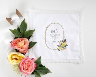 MOTHER IN LAW  printed handkerchief with your choice of floral graphic and your choice of hanky style, scalloped, lace