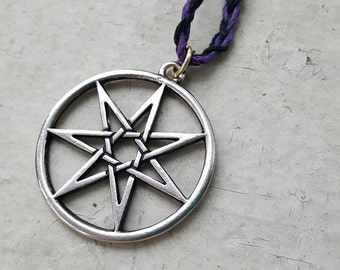 Seven Pointed Faery Star Septagram Hemp Necklace - Choose Size & Colors
