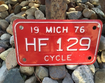Vintage motorcyle license plate, cycle plate, old, automobile plate, 1976, rustic, antique plate, metal plate, Michigan