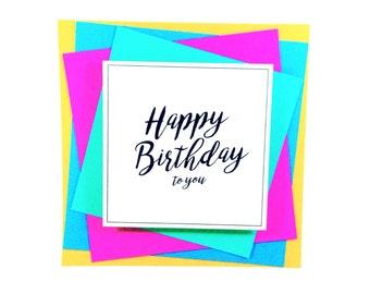 90s birthday card, retro card, old school card, happy birthday card, colourful birthday card, colorful birthday card, teen birthday card