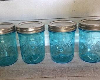 NEW wide mouth  Blue Ball Mason Jars pint size