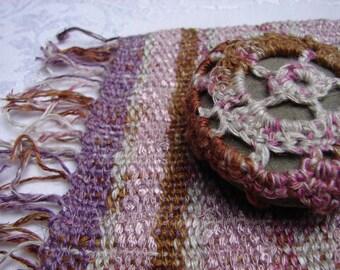 Handwoven Mat and Crochet Stone, Zen, Little Celebrations, Small Gift