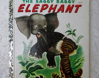 SUMMER SALE 30% Off The Saggy Baggy Elephant, Vintage Collectible Children's Little Golden Book, Illustrated by Tenggren