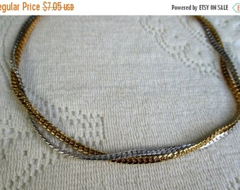 FALL SALE 20% Off Vintage AVON Necklace Intertwined Gold and Silver Serpentine Choker