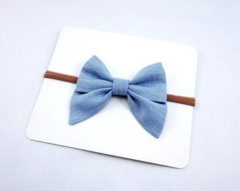 Blue Chambray Linen Sailor Bow Headband Nylon Skinny Headband or Clip