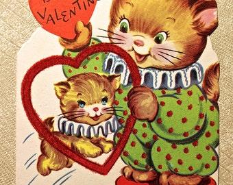 Vintage folding Cat Circus Valentine
