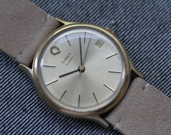 Vintage Timex quartz watch sunburst dial with new tan suede strap