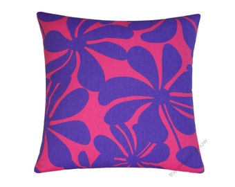 """Purple and Candy Pink Twist Decorative Throw Pillow Cover / Pillow Case / Cushion Cover / Cotton / 18x18"""" square"""