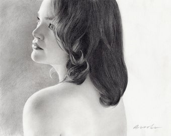 pencil drawing of young woman, jackie, graphite, delicate and detailed drawing, original art, one of a kind, fine art, boudoir art