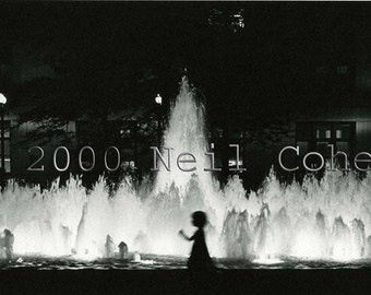 Chicago Daley Plaza girl and fountain fine art black and white archival gelatin silver photograph