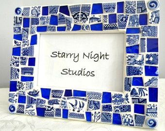 Mosaic Frame -BLUE WILLOW China & Cobalt Blue Stained Glass
