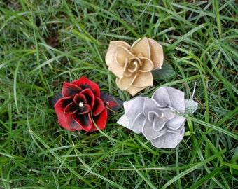 Three Leather Rose Barrettes