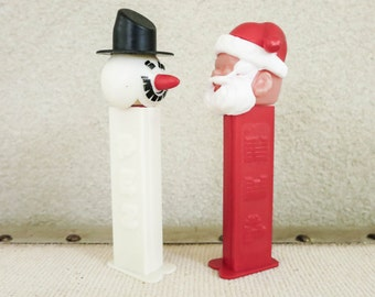 Vintage Collectible Santa and Snowman PEZ Candy Container Dispensers - Made in Yugoslavia - Christmas Decoration - Stocking Stuffer