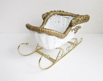 Small Vintage Wicker Sleigh - White with Gold Trim - for Santa Display or Flower Holder - Christmas Decoration - Floral Supply