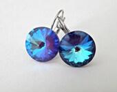 Bermuda Blue Earrings, Blue Swarovski Earrings,  Crystal Rivoli Drop Earrings, Bridesmaids Jewelry, Hypoallergenic Earrings