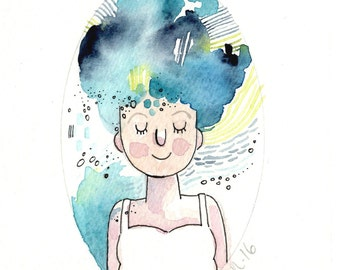 Watercolor Painting, Whimsical Art, Girl Art, Original
