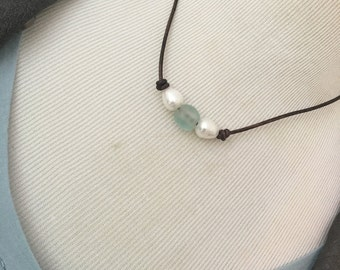 Recycled African Glass and Freshwater Pearl Choker