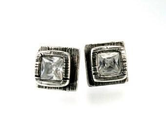 Sterling, Post Earrings, CZ, CZ Earrings, CZ Studs, Cz Posts, Stud Earrings, Silver Studs, Silver Posts, White Cz, Square Earring, 1192a