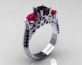 Reserved - Classic 14K White Gold Three Stone Black Diamond Rose Ruby Solitaire Ring R200-14KWGBDRR