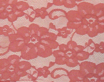 """PINK Floral Lace with Double Scallop 2yd 38"""" wide Doll Clothes Wedding"""