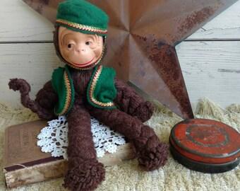 Retro Yarn Art Monkey + Toy - Old Vintage Yarn Monkey, Collecting Monkies, Monkey Love, Poseable Stuffed Monkey, Nursery Art, Vintage Toys