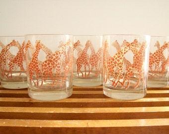 Vintage Giraffe Glasses, Lowball Tumblers, Scotch Glasses, Rocks Glasses, Vintage Safari, Hollywood Regency Barware Drinkware