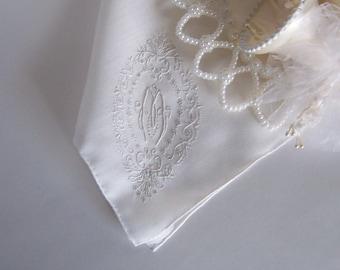 Monogrammed M Wedding Hanky in Antique White Bride's Handkerchief Something Old Shower Gift Wedding Keepsake