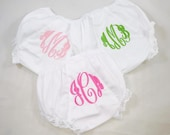 Monogrammed White Bloomers / Classic White Eyelet Lace trim Bloomers / Personalized Baby Bloomers / Monogrammed infant Bloomers / Bloomers