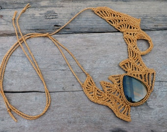 Womens statement necklace, Festival jewelry, Yellow necklaces, Big jewelry, Unique necklaces for women, Crochet necklace, Hawk Eye jewelry