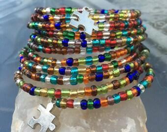 11 Wrap Autism Puzzle Piece Boho Colorful Bracelet