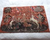 Antique French lady with unicorn woven wall hanging tapestry w The Taste theme, lady, lion licorne Big medieval wall decor French home decor