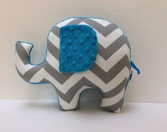 Modern nursery decor, blue grey gray chevron Elephant pillow, baby shower gift stuffed plush