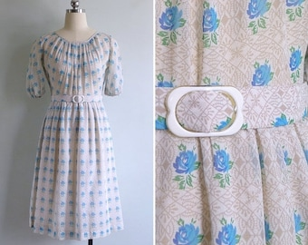 20% CNY SALE - Vintage 70's 'Blue Rose Beauty' Blouson Day Dress with Belt XS or S